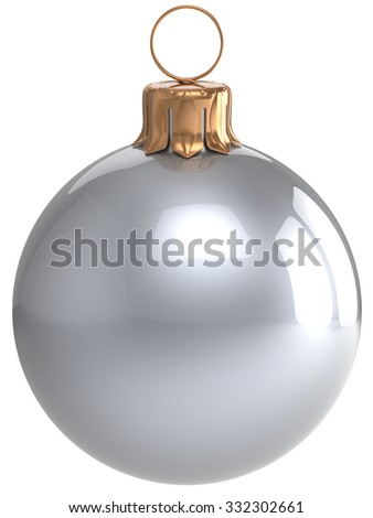 Christmas ball New Year's Eve bauble white wintertime decoration silver chrome sphere hanging adornment classic. Traditional winter holidays home ornament Merry Xmas symbol blank. 3d render isolated - stock photo