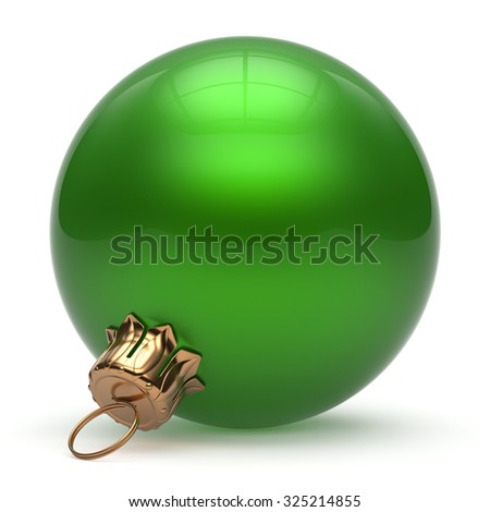 Christmas ball New Year's Eve bauble wintertime decoration green sphere hanging adornment classic. Traditional winter ornament happy holidays Merry Xmas event symbol glossy blank. 3d render isolated - stock photo