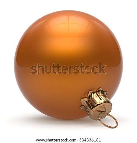 Christmas ball New Year's Eve bauble wintertime decoration orange sphere hanging adornment classic. Traditional winter ornament happy holidays Merry Xmas event symbol glossy blank. 3d render isolated - stock photo