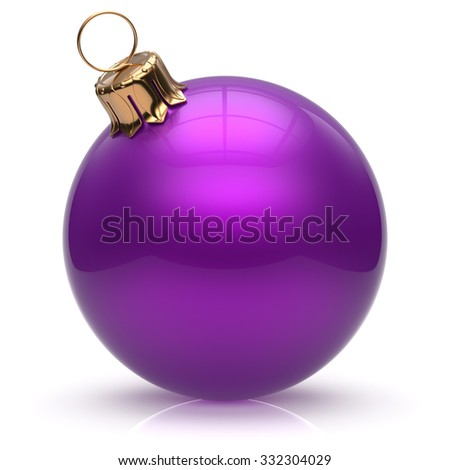 Christmas ball New Year's Eve bauble wintertime decoration purple sphere hanging adornment classic. Traditional winter ornament happy holidays Merry Xmas event symbol glossy blank. 3d render isolated - stock photo