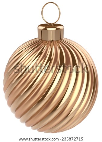 Christmas ball New Years Eve bauble decoration gold luxury golden wintertime ornament icon traditional. Shiny Merry Xmas winter holidays symbol modern. 3d render isolated on white background - stock photo