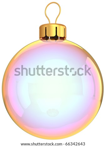 Christmas ball New Years Eve bauble ornament clean bubble blank glass translucent. Merry Xmas decoration elegance icon empty. Wintertime holidays greeting card. 3d render isolated on white background - stock photo
