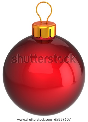 Christmas ball New Years Eve bauble red classic blank. Traditional wintertime Merry Xmas holidays sphere decoration. Greeting card template design element. 3d render isolated on white background - stock photo