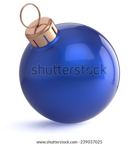 Christmas ball New Years Eve ornament decoration blue wintertime bauble icon traditional. Shiny Merry Xmas winter holidays symbol blank. 3d render isolated on white background - stock photo