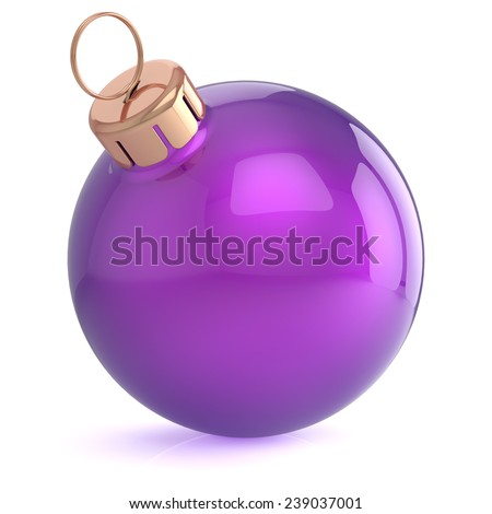 Christmas ball New Years Eve ornament decoration purple wintertime bauble icon traditional. Shiny Merry Xmas winter holidays symbol blank. 3d render isolated on white background - stock photo
