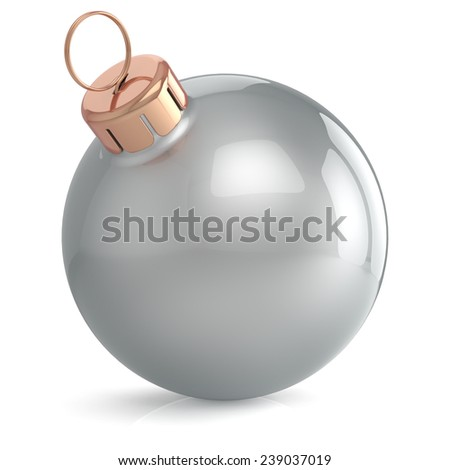 Christmas ball New Years Eve ornament decoration silver chrome wintertime bauble icon traditional. Shiny Merry Xmas winter holidays symbol blank. 3d render isolated on white background - stock photo
