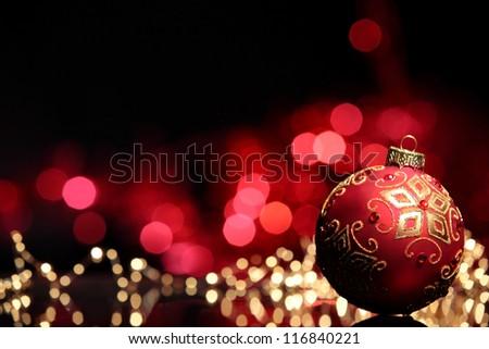 Christmas ball on abstract light background,Shallow Dof. - stock photo