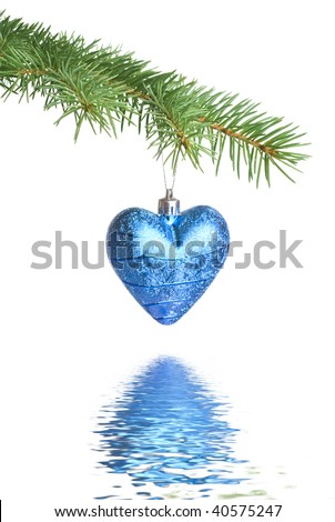 Christmas ball on fir tree branch with reflection - stock photo