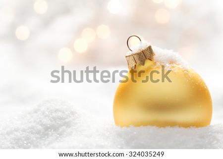 Christmas ball on snow - stock photo