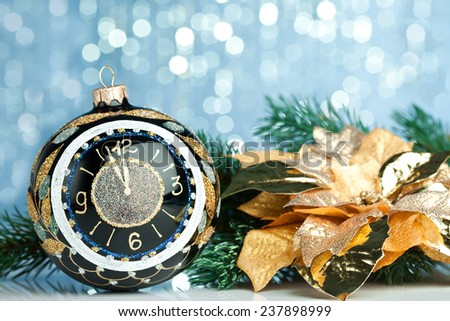 Christmas ball on sparkles background - stock photo