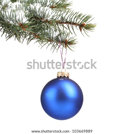 Christmas ball on the tree isolated on white