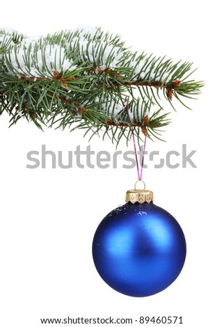 Christmas ball on the tree isolated on white - stock photo