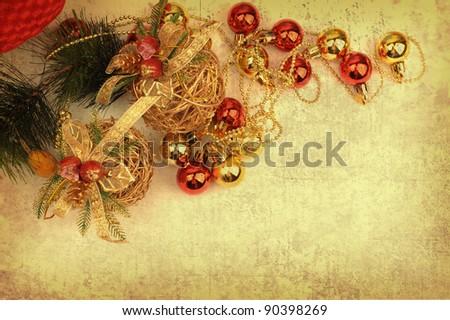 Christmas ball on Vintage christmas background - stock photo