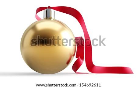 Christmas ball on white background. 3d render illustration - stock photo