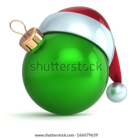 Christmas ball ornament New Year bauble decoration green Santa hat icon happy emoticon. Seasonal wintertime Merry Xmas traditional symbol souvenir blank. 3d render isolated on white background - stock photo