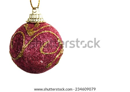Christmas ball ornaments isolated - stock photo