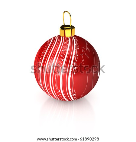 Christmas ball over white. 3d rendered image