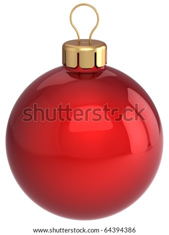 Christmas ball red decoration classic glossy. Happy New Year bauble traditional. Merry Xmas greeting card design element. 3d render isolated on white background - stock photo