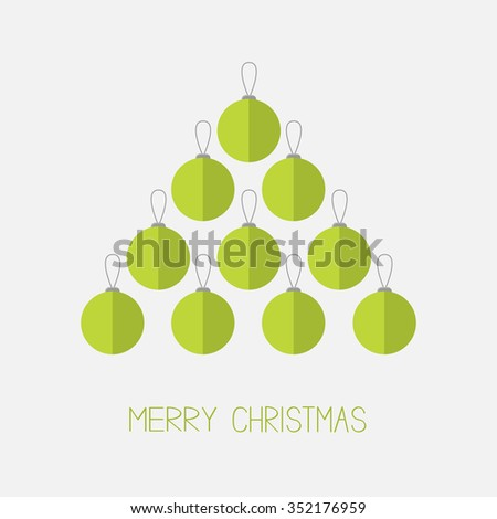 Christmas ball set in shape of triangle fir tree. Merry Christmas. White background. Isolated. Flat design style.  - stock photo