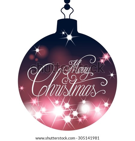 Christmas ball silhouette with hand lettering Merry Christmas, isolated on white, design element - stock photo