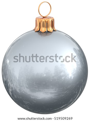 Christmas ball silver white New Year's Eve bauble decoration shiny wintertime hanging sphere adornment souvenir. Traditional ornament happy winter holidays Merry Xmas symbol. 3d illustration isolated
