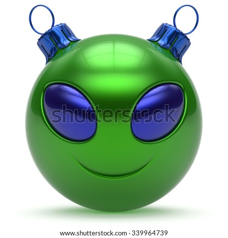 Christmas ball smiley alien face Happy New Year's Eve bauble cartoon cute emoticon decoration green. Merry Xmas cheerful funny smile person character toy laughing eyes joy adornment concept. 3d render - stock photo