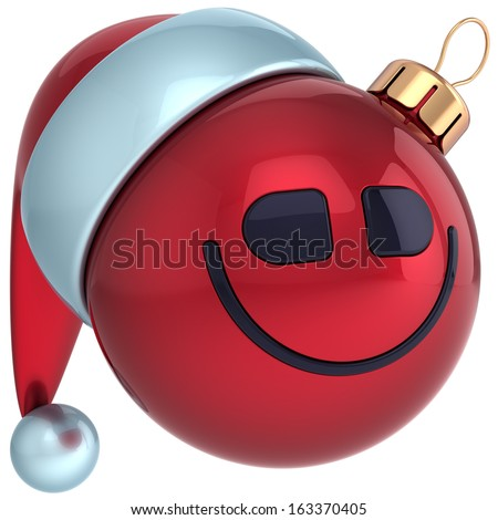 Christmas ball smiley face New Years Eve bauble Santa hat smile emoticon decoration. Wintertime emoticon. Merry Xmas holiday joyful funny character toy concept. 3d render isolated on white background - stock photo