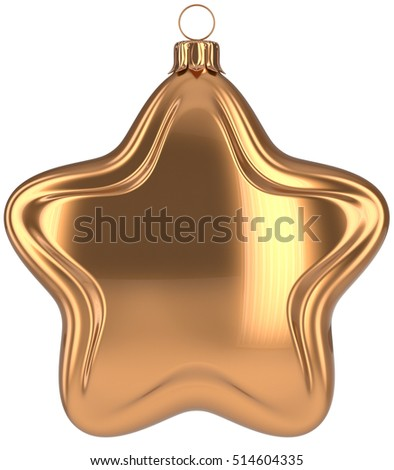 Christmas ball star shaped golden decoration Merry Xmas hanging adornment New Years Eve bauble. Happy wintertime holidays greeting card design element traditional decor ornament blank. 3d illustration