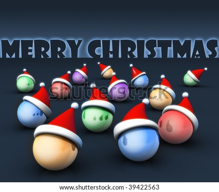 Christmas ball wearing santa hat with merry christmas word at the back 3d illustration