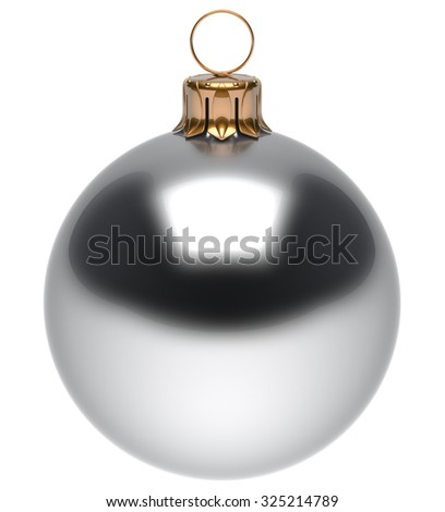 Christmas ball white New Year's Eve bauble wintertime decoration glossy sphere hanging adornment classic. Traditional winter ornament happy holidays Merry Xmas symbol blank round. 3d render isolated - stock photo