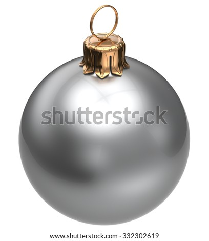 Christmas ball white New Year's Eve bauble wintertime decoration glossy sphere hanging adornment classic. Traditional winter happy holidays ornament Merry Xmas symbol silver blank. 3d render isolated - stock photo