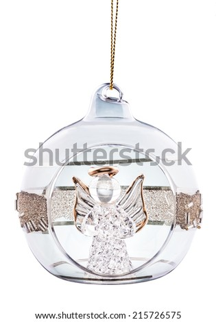 Christmas ball with angel inside isolated on white - stock photo