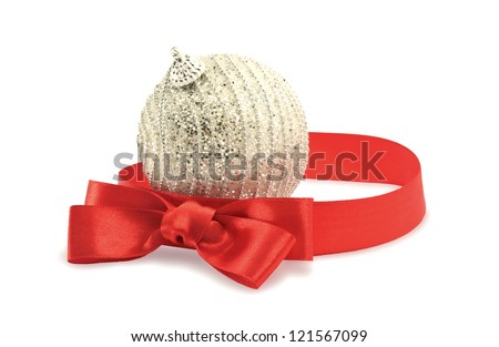 Christmas ball with bow - stock photo