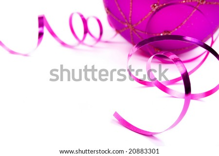 Christmas ball with bow on white background