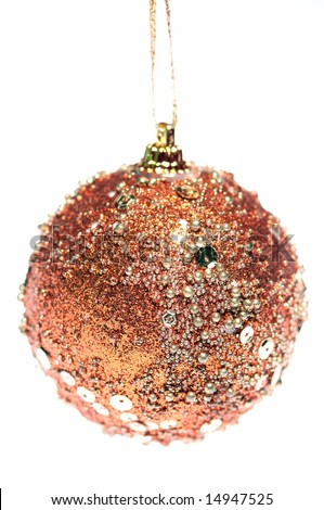 Christmas ball with bronze sparkling glitter - stock photo