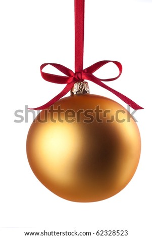 Christmas ball with curly ribbon isolated on white - stock photo