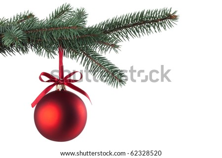 Christmas ball with curly ribbon on christmas tree - stock photo