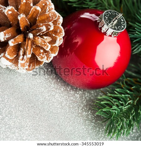 Christmas ball with fir-tree and pinecone - stock photo