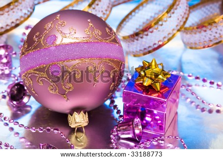 Christmas ball with gift box