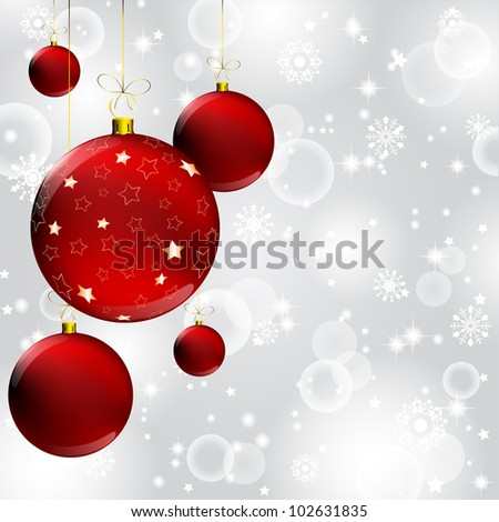 christmas ball with gold star decorated on abstract winter gray background - stock photo