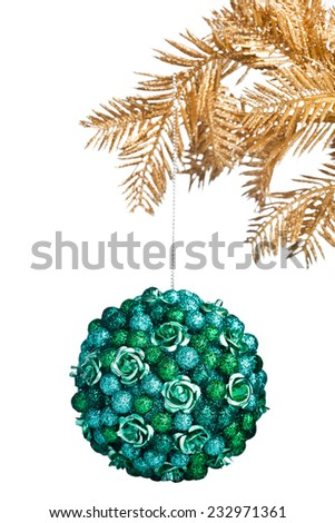 Christmas ball with golden fir-tree - stock photo