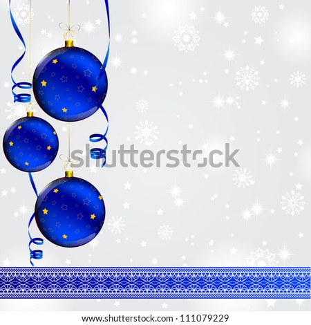 christmas ball with golden star decorated on abstract winter gray background with lace