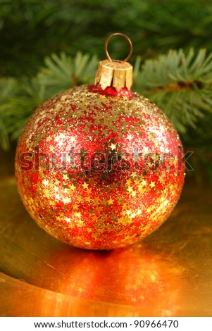 Christmas ball with golden stars