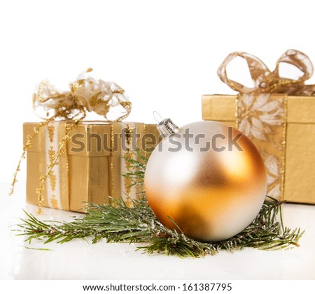 Christmas ball with pine and decorations