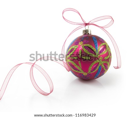 christmas ball with ribbon isolated on white background - stock photo