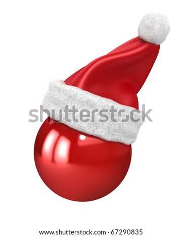 Christmas ball with santa hat on top isolated on white - stock photo
