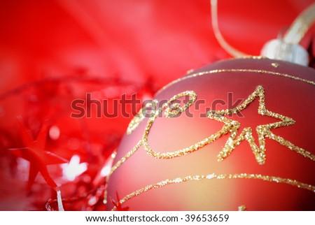 Christmas ball with seasonal setting,Closeup. - stock photo