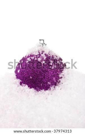 Christmas ball with snow - stock photo