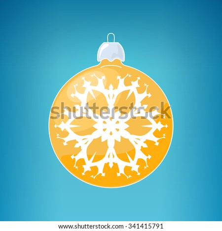 Christmas Ball with Snowflake , Yellow Ball  on a Blue Background , Christmas Tree Decoration, Merry Christmas and Happy  New Year - stock photo