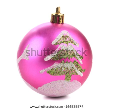 Christmas ball with tree as drawing. Isolated on a white background. - stock photo
